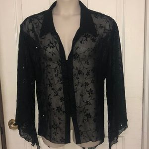 Sheer Black Sparkle Floral Collared Blouse